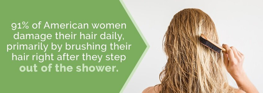 91% of American Women damage their hair daily by brushing it right after they shower
