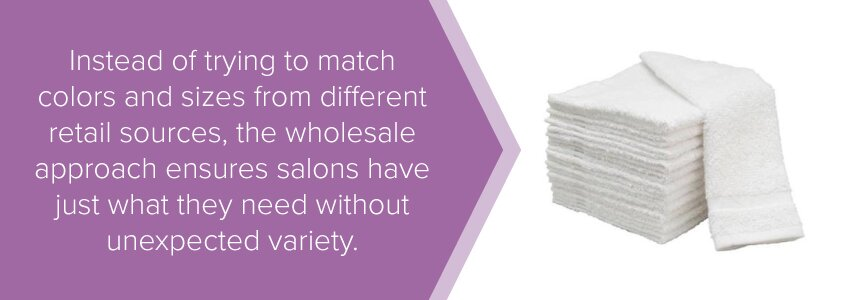 Instead of trying to match color and sizes from different retail sources, the wholesale approach ensures salons have just what they need without unexpected variety