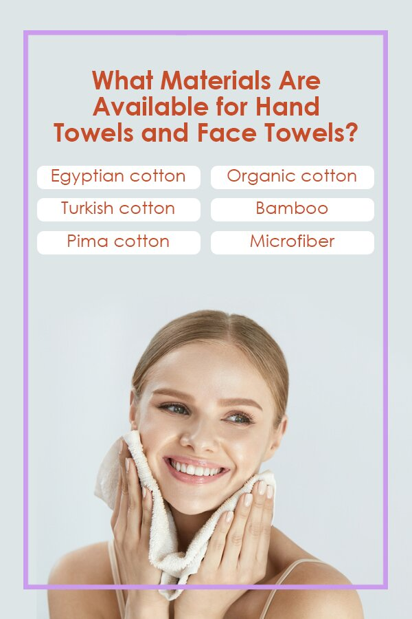 What materials are available for hand towels and face towels