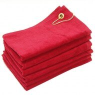 Wholesale Red Terry Velour Golf Towels with Corner Grommet
