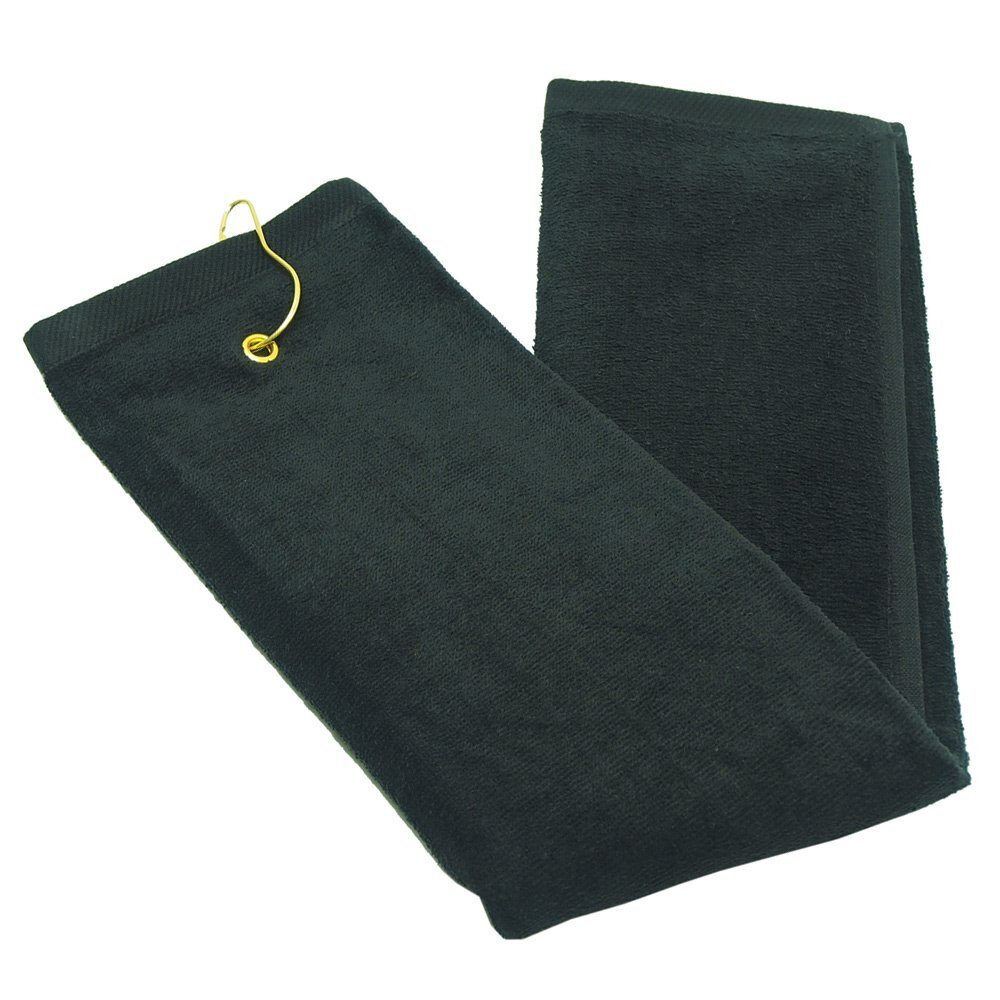 Black Terry Velour Gold Towels with Tri-Fold Grommet Wholesale
