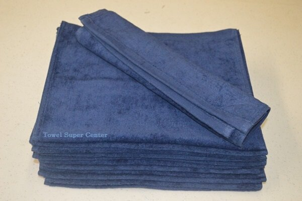 Navy Blue Terry Velour Hand Towels Wholesale