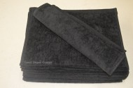 Black Terry Velour Hand Towels Wholesale